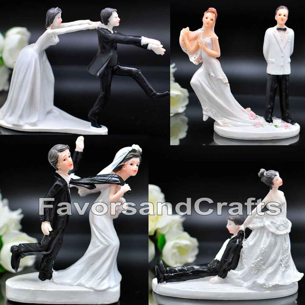funny wedding cake toppers figurine bride groom humor favor marriage