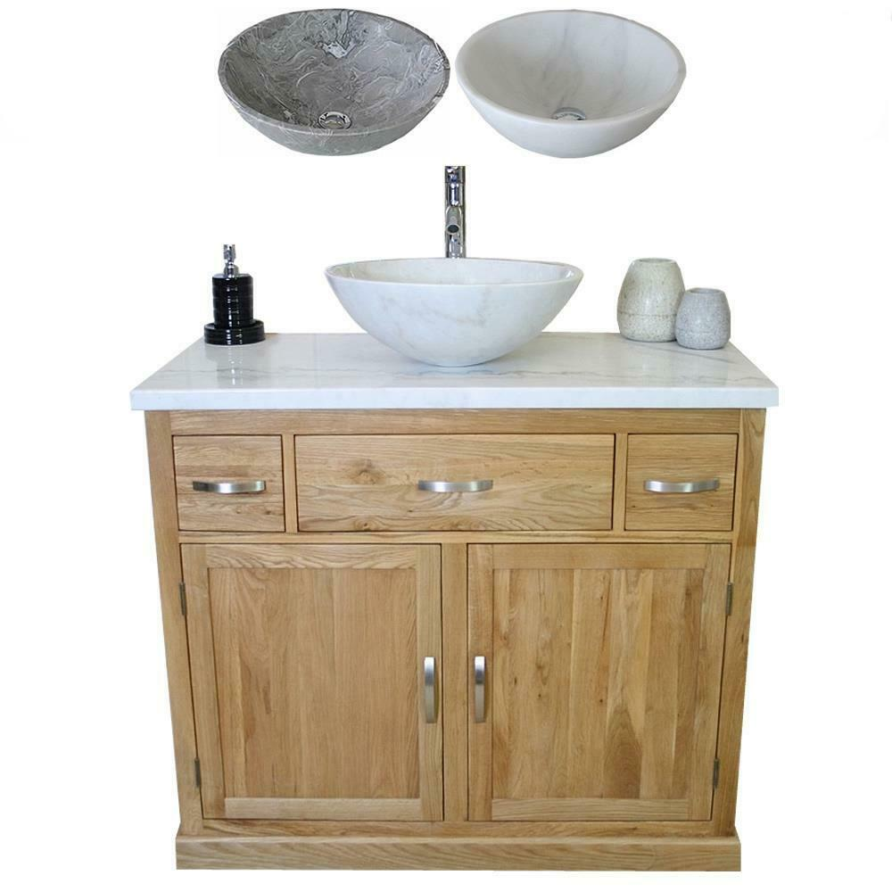 Bathroom Vanity Unit Oak Cabinet Wash Stand White Marble Top Stone Basin 1161 Ebay