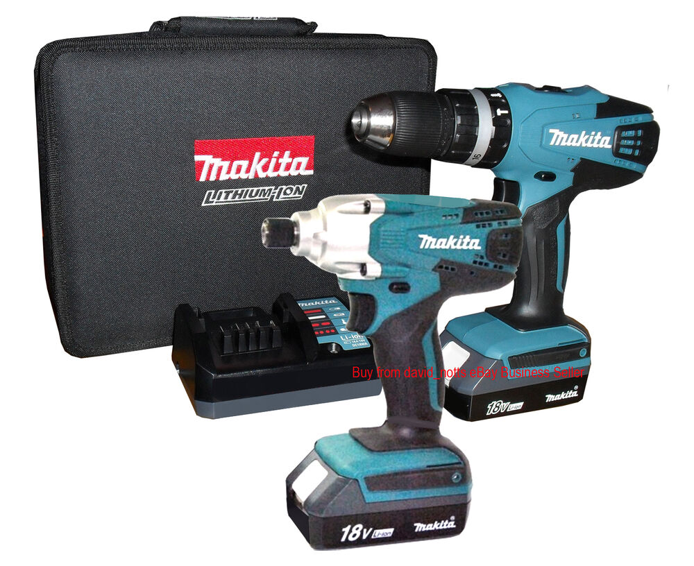 makita 18v li ion combi drill impact driver twin pack incl 2 batteries new ebay. Black Bedroom Furniture Sets. Home Design Ideas