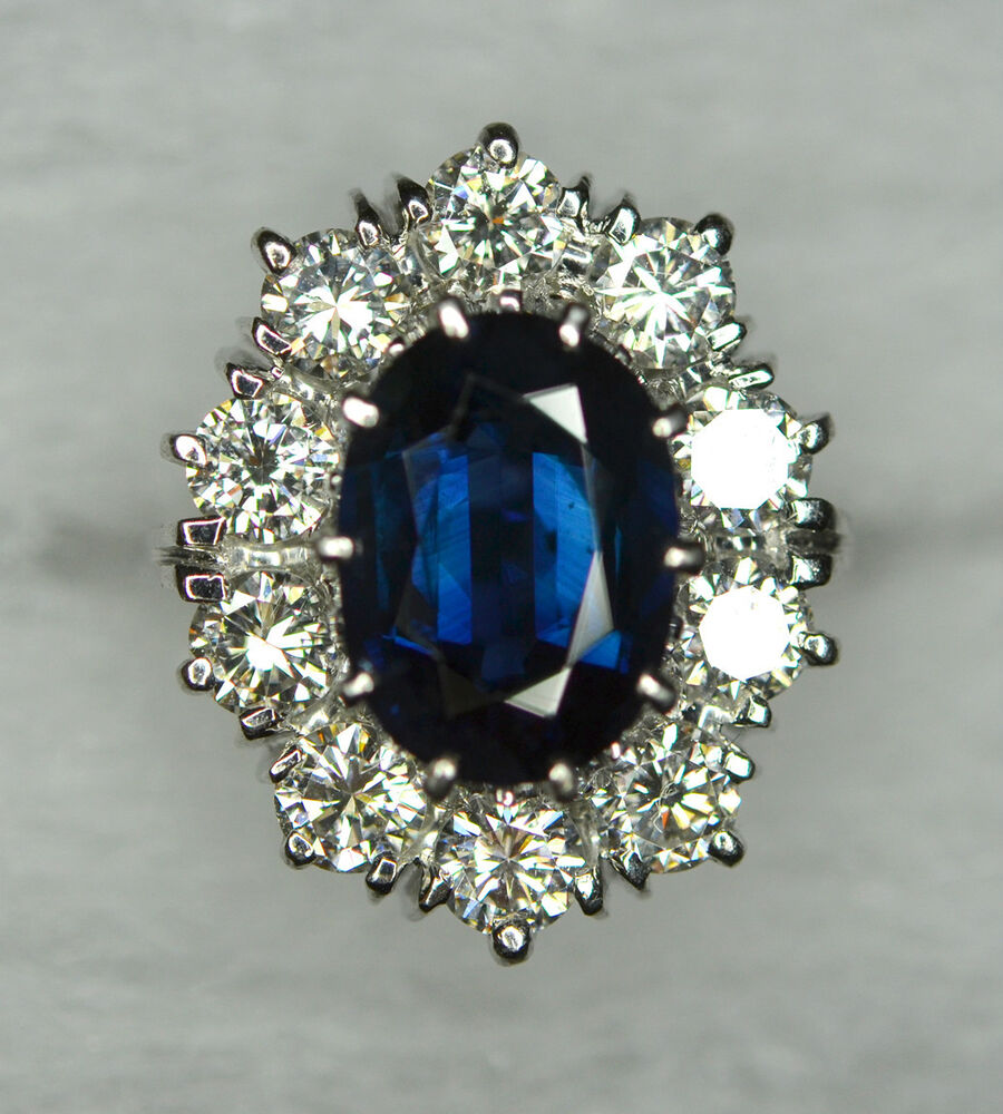 Sapphire And Diamond Cluster Ring Antique