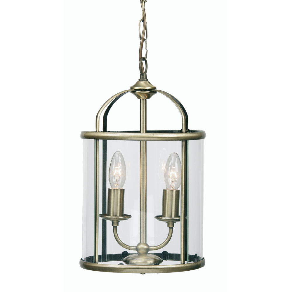 ANTIQUE BRASS GLASS LANTERN CEILING LIGHT 2 CANDLE CUP HOLDERS EBay