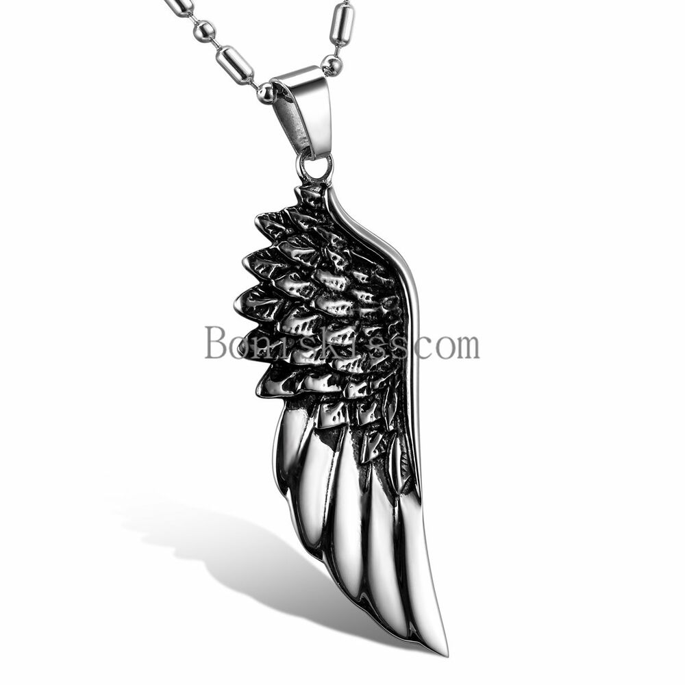 black silver stainless steel angel wing mens pendant. Black Bedroom Furniture Sets. Home Design Ideas