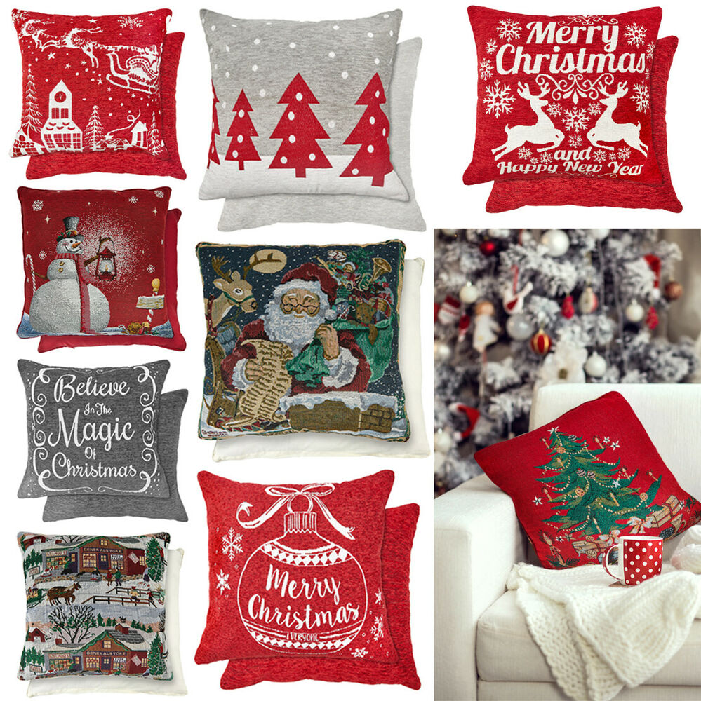Vintage Christmas Tapestry Filled Cushions or Cushion ...
