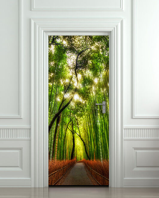 Door Wall Sticker Cover Bamboo Forest Green Trees Way
