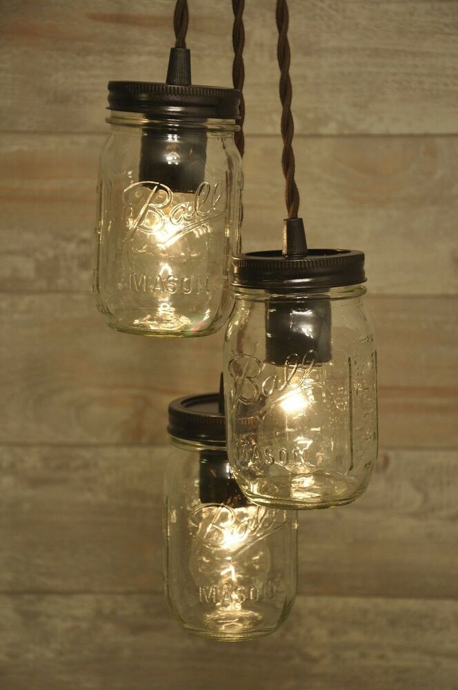 mason jar chandelier oil rubbed bronze pendant light fixture rustic industrial ebay. Black Bedroom Furniture Sets. Home Design Ideas