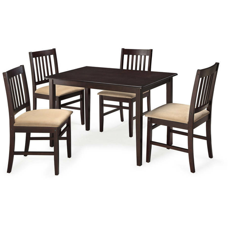 5 piece kitchen dining set wood breakfast furniture 4 for Wooden dining table and chairs