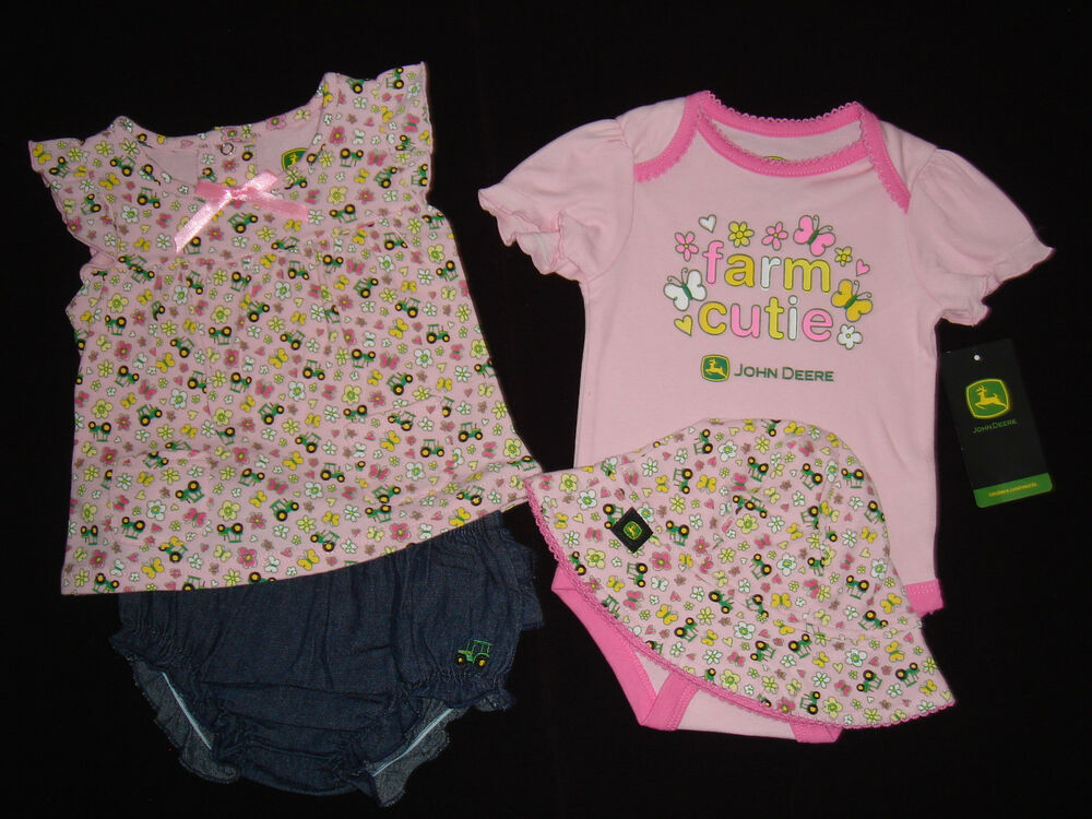 John Deere Baby Infant Girl Bodysuit Shirt Shorts Hat