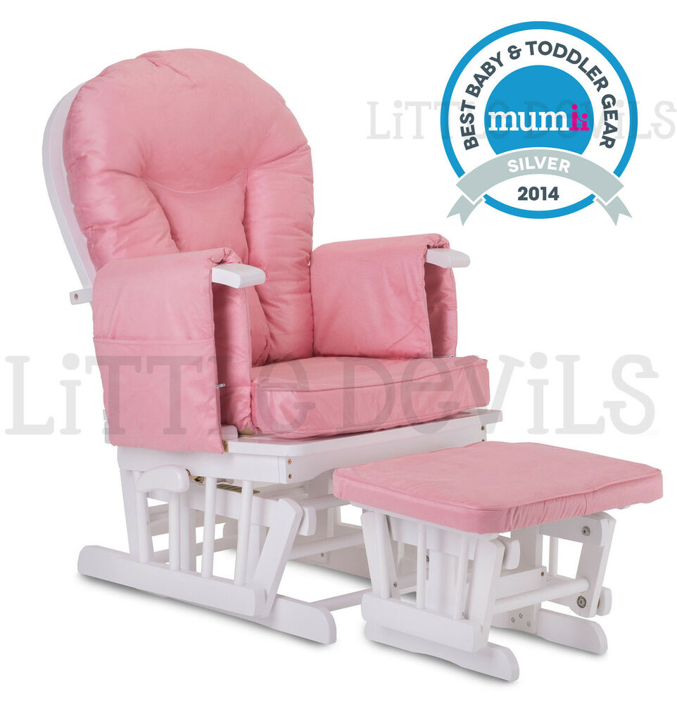 WHITE WOOD PINK SUPREMO BAMBINO Nursing Glider Rocking Maternity Chair Stoo