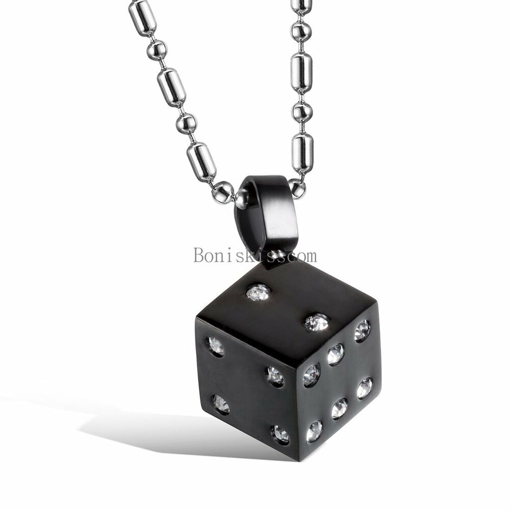 fashion stainless steel dice mens ladies pendant necklace. Black Bedroom Furniture Sets. Home Design Ideas