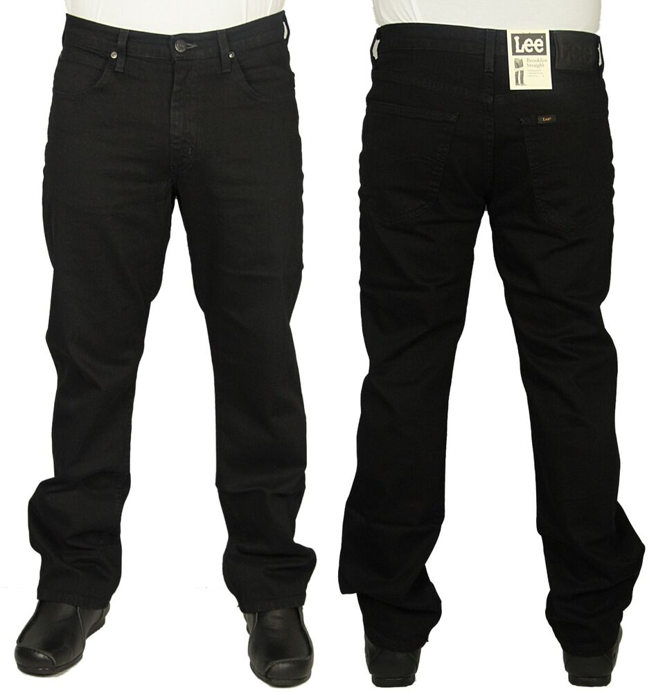 0ee49173 Details about MENS LEE BROOKLYN STRAIGHT LEG JEANS REGULAR FIT STRETCH  BLACK PANTS 30 TO 48
