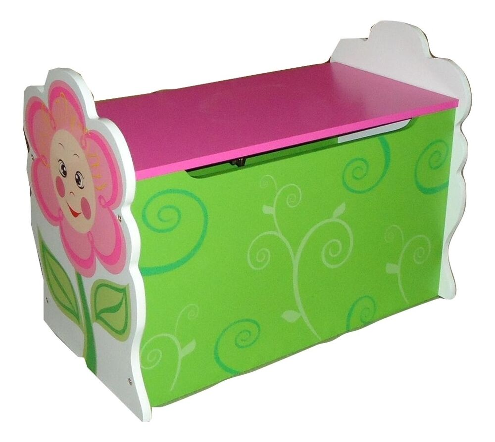 girls daisy flower themed pink kids childrens wooden toy box bench storage box ebay. Black Bedroom Furniture Sets. Home Design Ideas