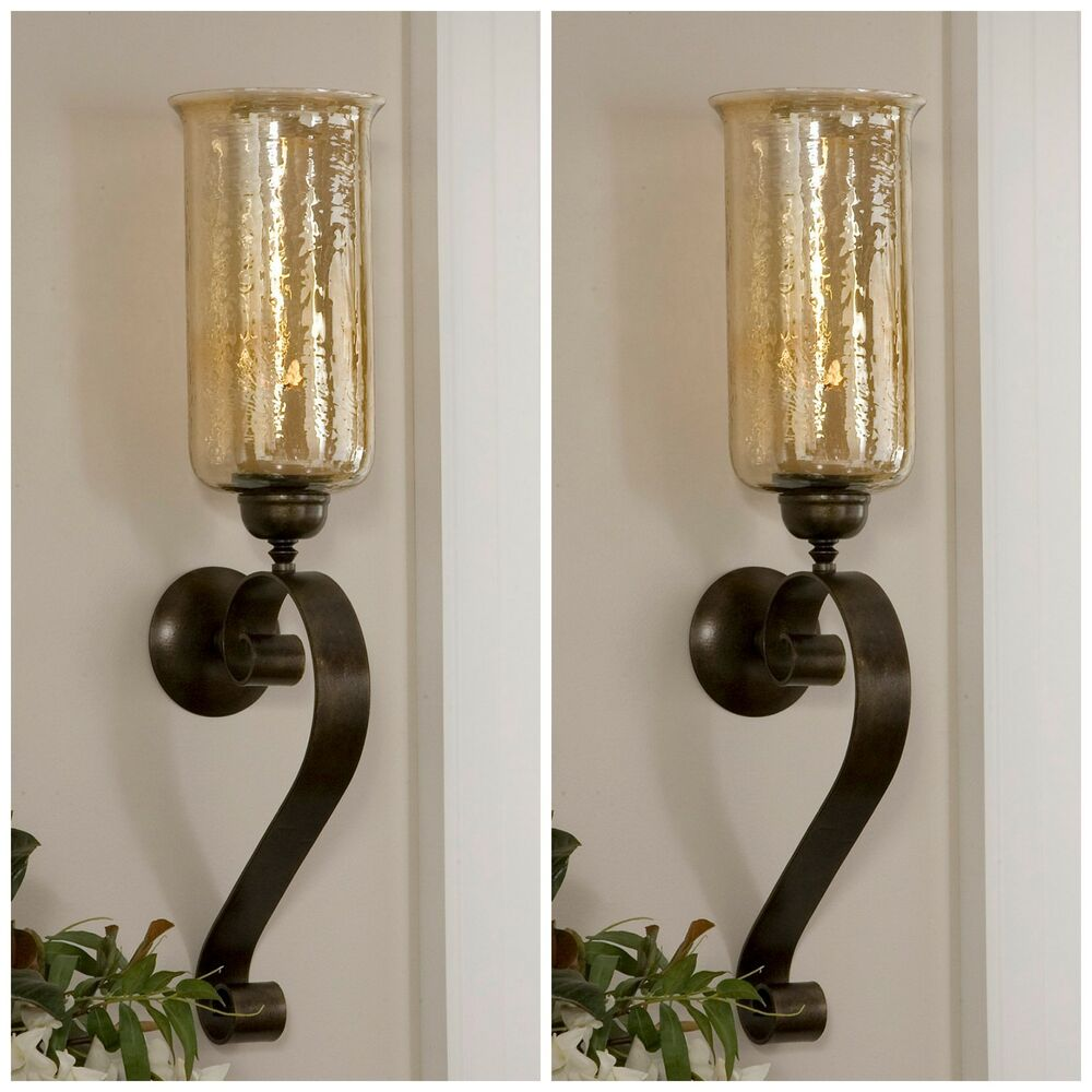 Glass Wall Sconces For Candles : TWO ANTIQUED BRONZE HAND FORGED METAL & GLASS WALL SCONCE FIXTURE CANDLE HOLDERS eBay