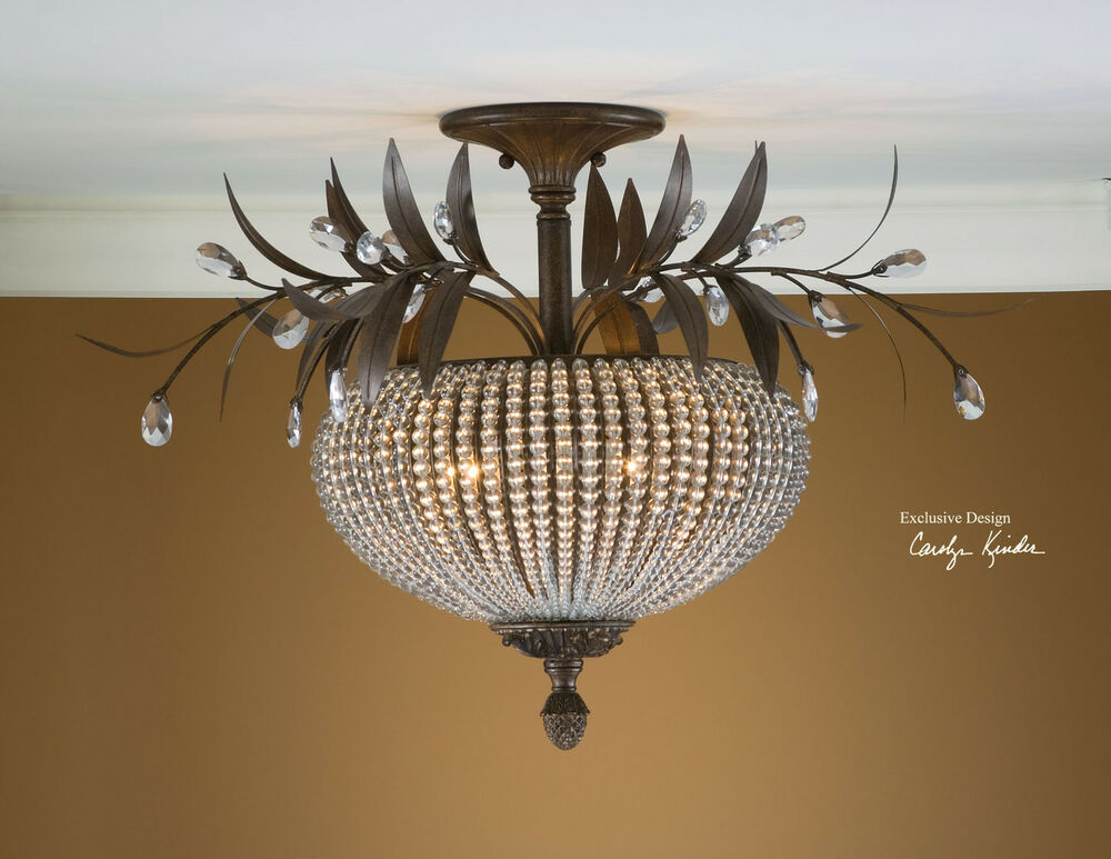 Unique crystal beads bronze wrought iron ceiling light for Cool light fixtures ceiling