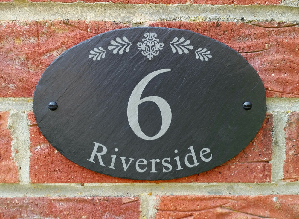 House Number Plaques Slate: Personalised Natural Oval Slate House Name Door Gate