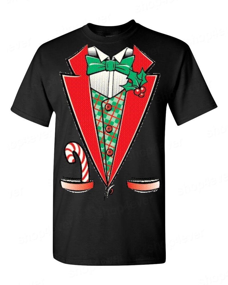 Christmas TUXEDO funny T-SHIRT holiday xmas suit costume ... Ugly Christmas Sweater Party Funny