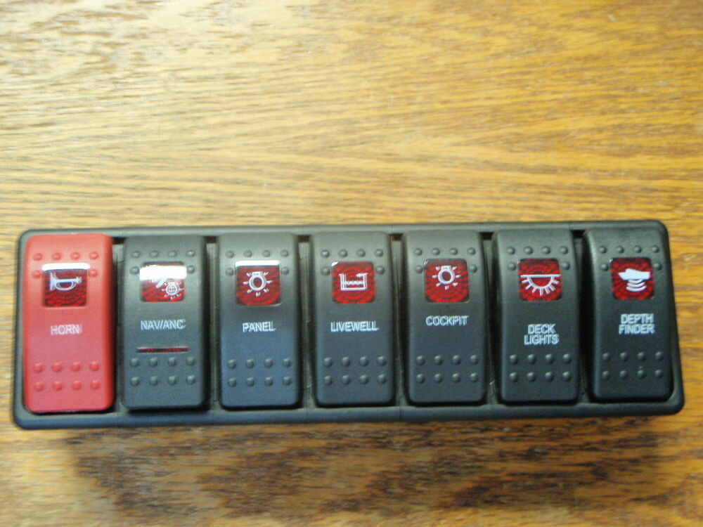 Switch Panel Carling Boat Dash 7 Switches Lighted Black