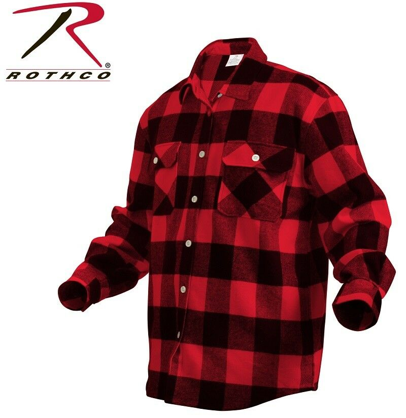 Red extra heavyweight brawny buffalo plaid flannel long for Flannel checked long sleeve shirt