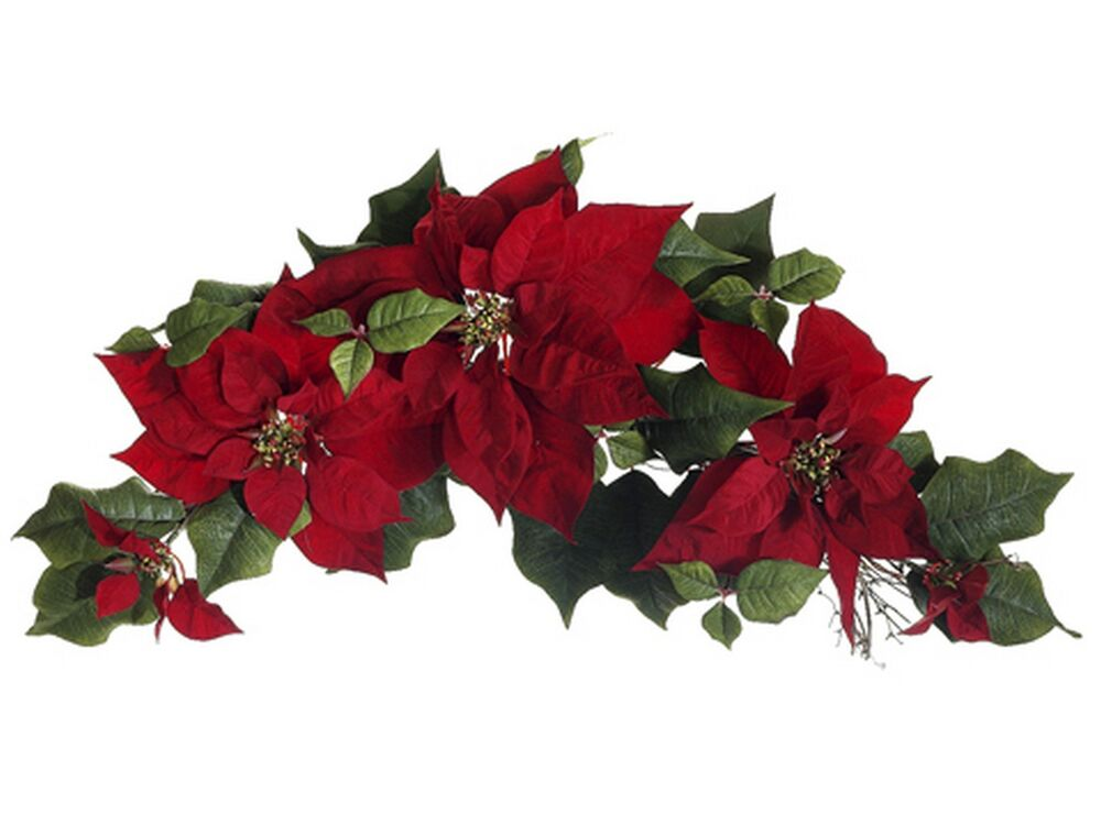 Artificial red poinsettia swag christmas tree garland