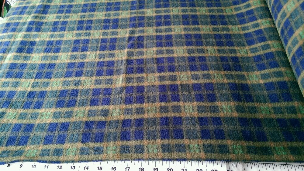 blue and green plaid fleece fabric sold by the yard ebay. Black Bedroom Furniture Sets. Home Design Ideas