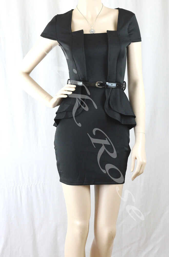 Womens Clothing Sexy Little Black Peplum Business Style Dress Ebay