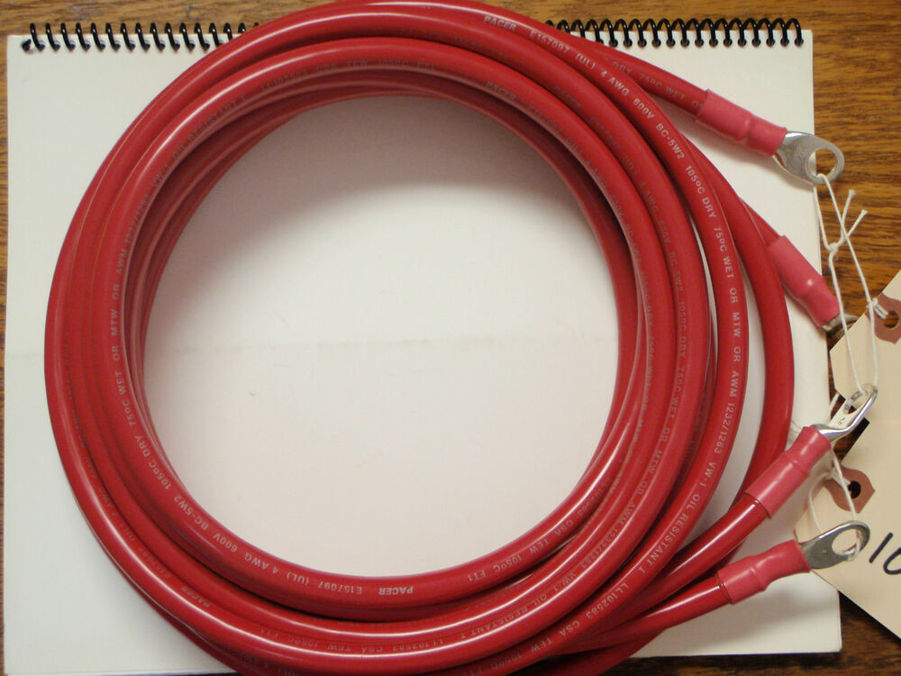 Battery Cable 4 Gauge 10ft Pair Red Tinned Wire 4ga Marine