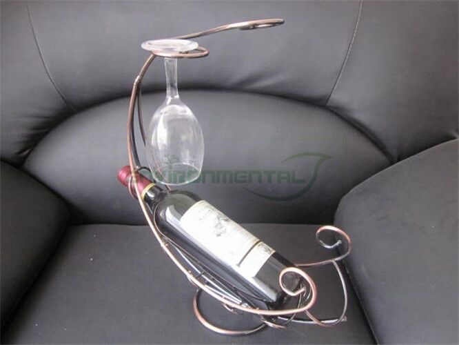 metal wine rack bottle glass cup holder modern moon boat table support organizer ebay. Black Bedroom Furniture Sets. Home Design Ideas