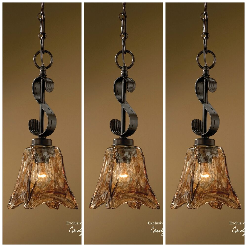 Hanging Light Fixture: THREE BRONZE IRON & GLASS MINI PENDANT LIGHT CEILING