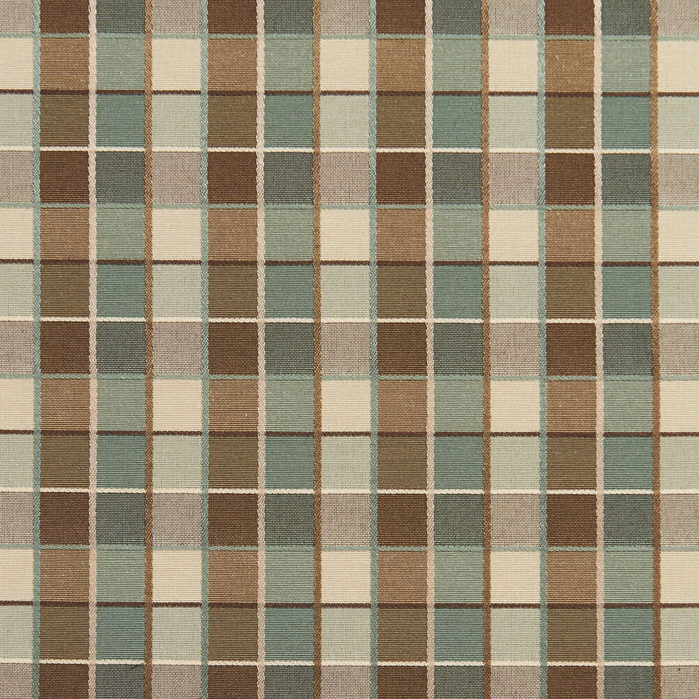 b0140e teal brown cream checkered silk look upholstery fabric by the yard ebay. Black Bedroom Furniture Sets. Home Design Ideas