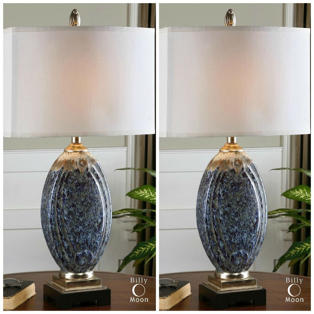 Ceramic Table Lamps : Two mottled blue glazed ceramic table lamps ivory drip