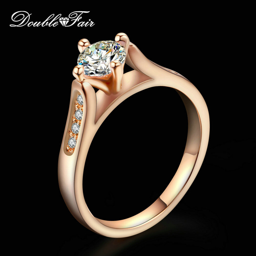 0 5 Carat Round Cut Cubic Zirconia Rings 18K Rose Gold Plated Wedding For Wom