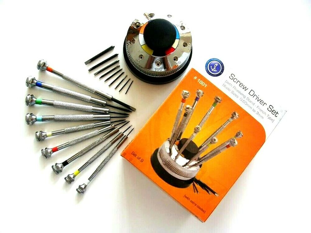 screwdriver set 9pc rotating stand swiss watch makers hobby tool iw suisse us. Black Bedroom Furniture Sets. Home Design Ideas