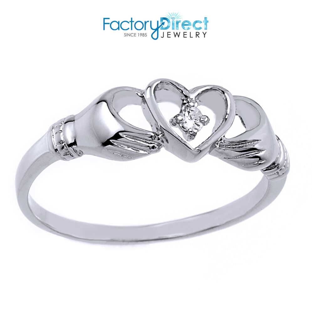 10k white gold claddagh ring with diamond ebay. Black Bedroom Furniture Sets. Home Design Ideas