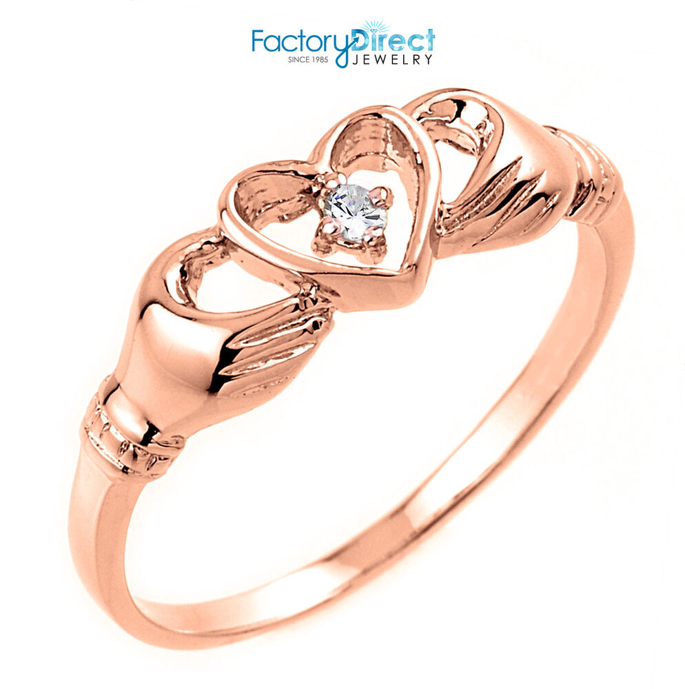 Pink Diamond Claddagh Ring