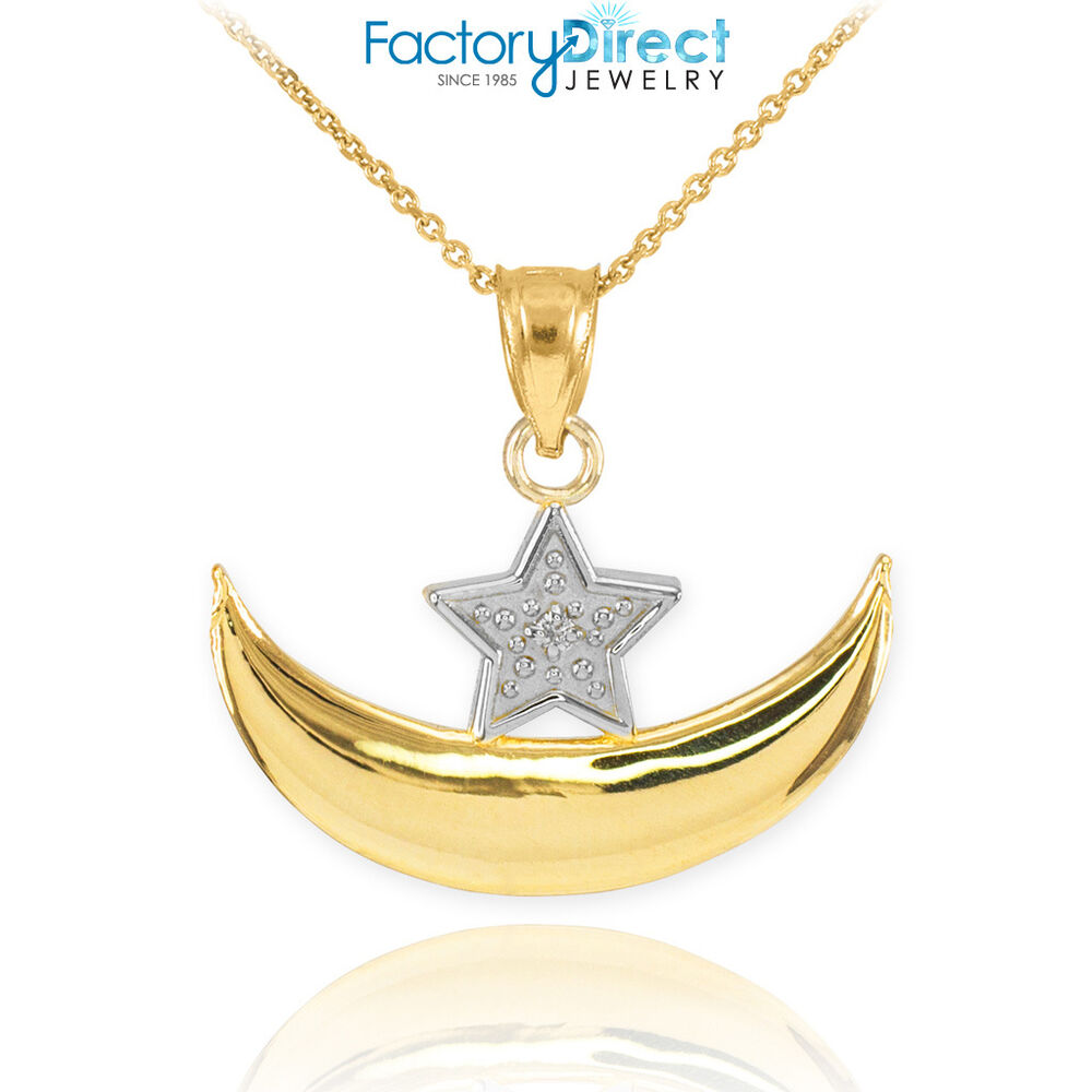 10k gold diamond crescent moon and star islamic pendant for 10k gold jewelry