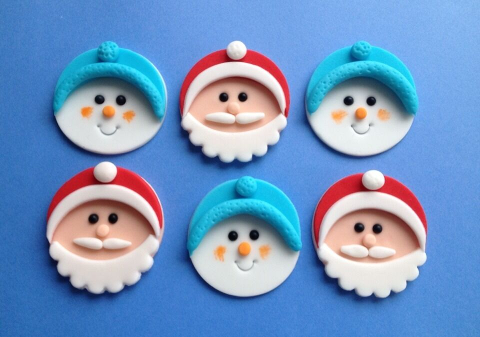Cake Toppers Edible Uk : 6 Edible Sugarpaste SANTA & SNOWMEN Christmas Cupcake ...