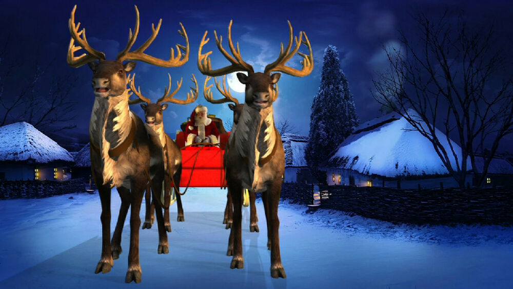 Virtual Reality Santa Reindeer Window Roof Dvd Projection