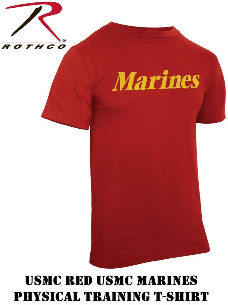 Red usmc marines military short sleeve physical training for What is a sport shirt