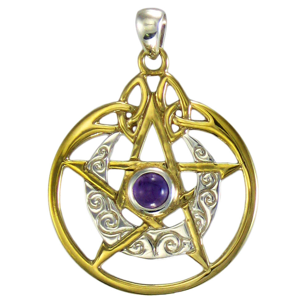 sterling silver gold plated crescent moon pentacle