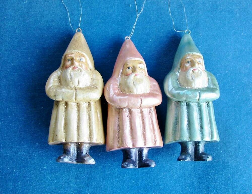 Bethany Lowe Christmas Ornaments Set Of 3 Pastel Paper