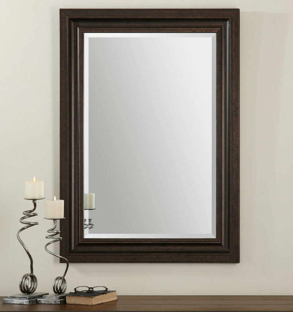 New stately tall 44 bronze solid wood rectangular beveled for Floor wall mirror