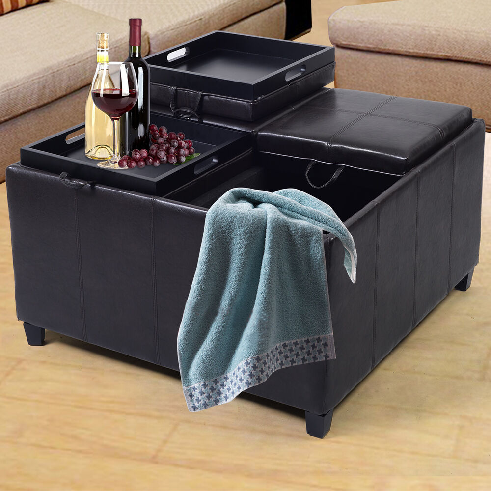 4 tray top ottoman storage table pu leather bench coffee. Black Bedroom Furniture Sets. Home Design Ideas