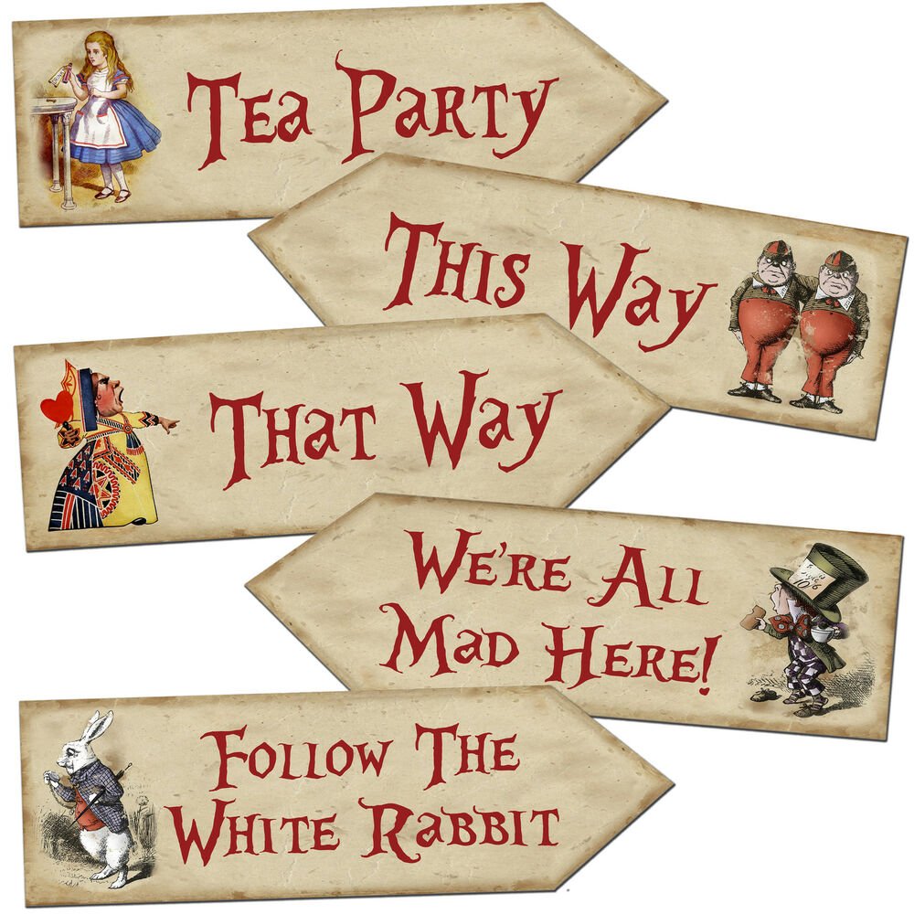 Alice In Wonderland Mad Hatter Quotes: Alice In Wonderland Arrow Quote Signs Prop Mad Hatters Tea