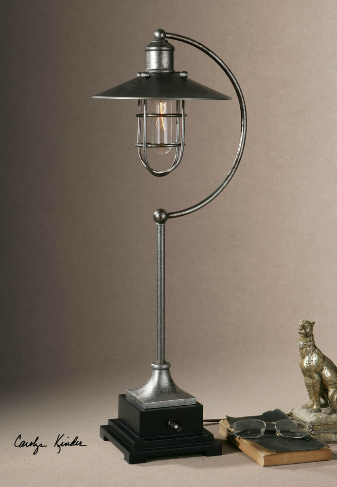 26 antiqued silver metal table lamp black accents silver for Black and silver lamps