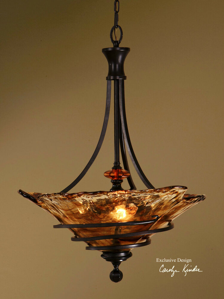 30 hand wrought bronze metal mini pendant ceiling fixture light hand made glass ebay - Chandelier ceiling lamp ...