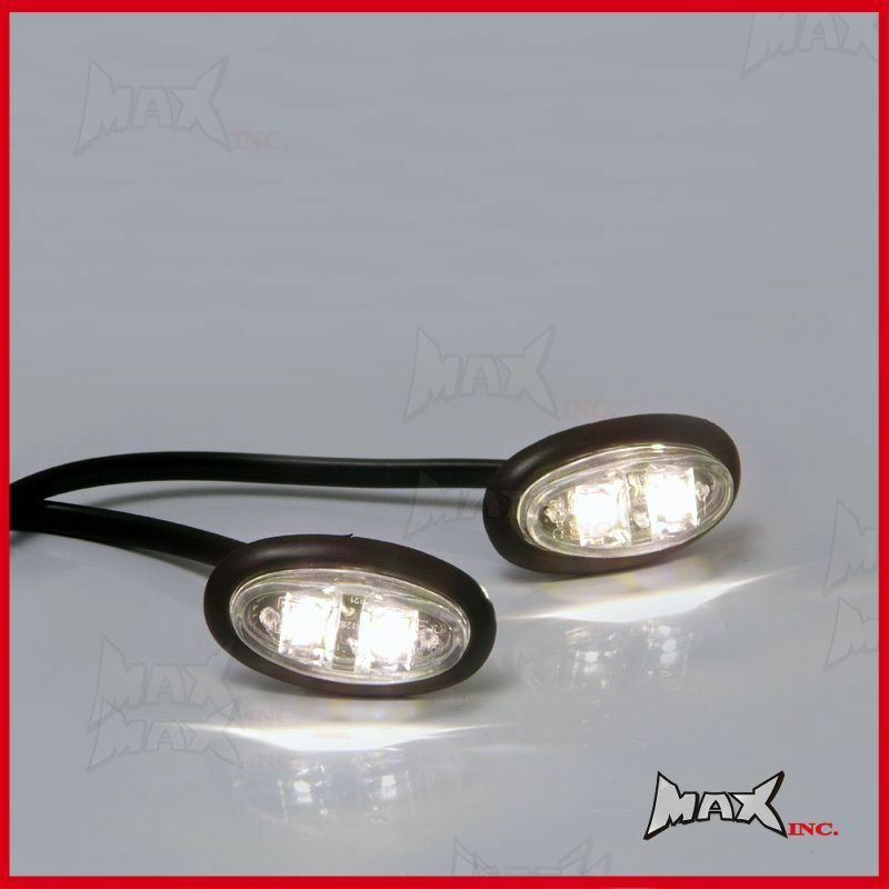 White 12v Oval Flush Mount Led Mini Marker Lights Ebay