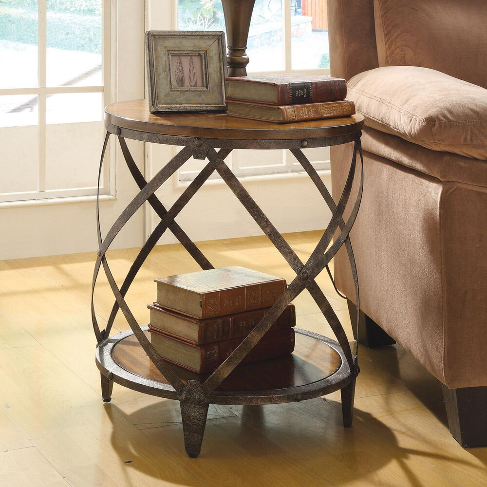 Round oak brown wood metal drum shape contemporary accent for Accent end tables