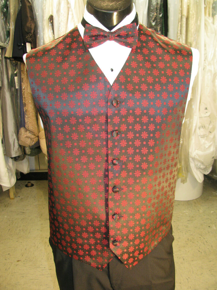 Mens Vintage Formal Vest Black/Red Matching Bow Tie ...