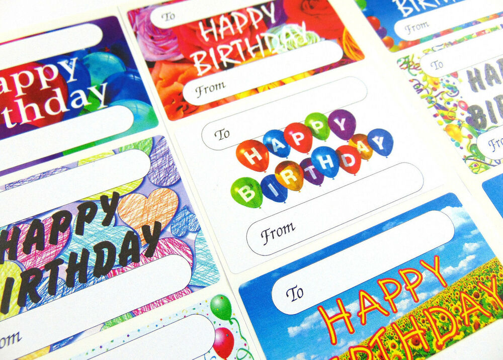 Birthday Tags: Happy Birthday Gift And Present Tags, Self-Adhesive Labels