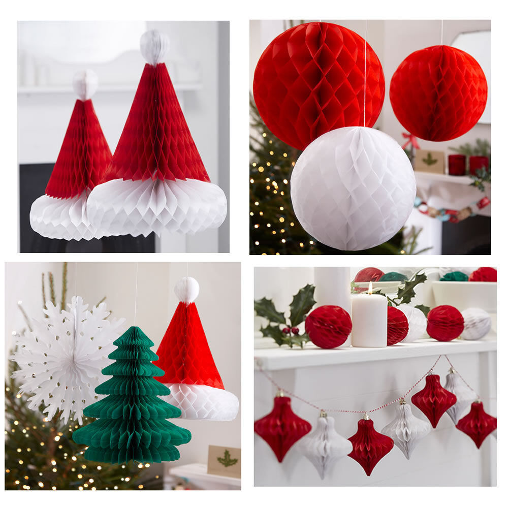 Christmas festive honeycomb paper hanging decorations ebay - Hanging paper balls decorations ...