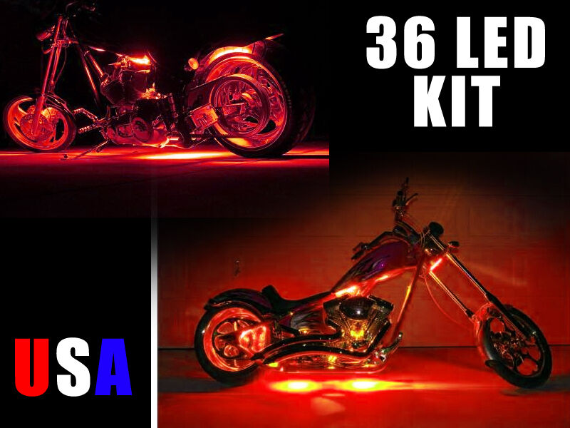 bright red 36 led motorcycle lights kit harley touring rocker ebay. Black Bedroom Furniture Sets. Home Design Ideas